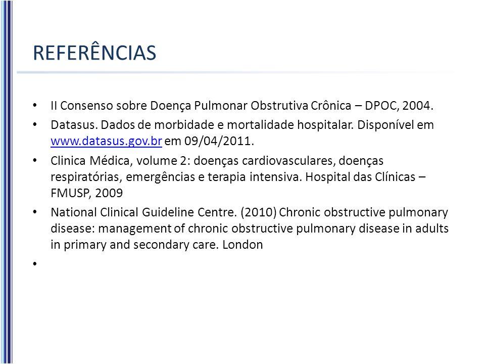 REFERÊNCIAS II Consenso sobre Doença Pulmonar Obstrutiva Crônica – DPOC, 2004.