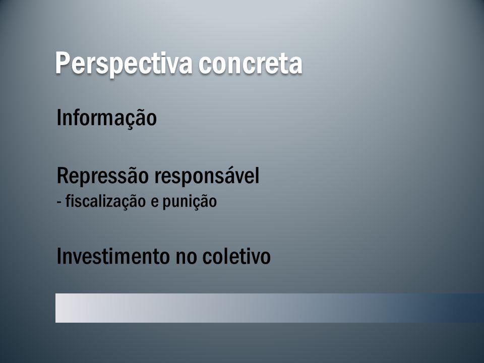 Perspectiva concreta Informação Repressão responsável - fiscalização e punição Investimento no coletivo.