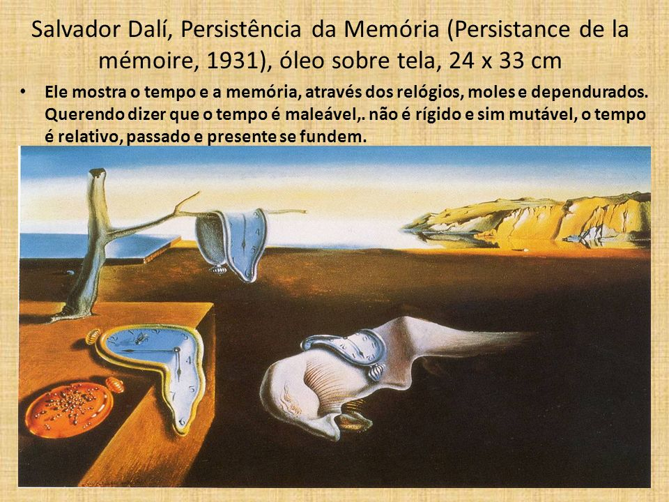 Salvador Dalí, Persistência da Memória (Persistance de la mémoire, 1931), óleo sobre tela, 24 x 33 cm