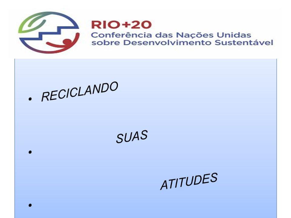 RECICLANDO SUAS ATITUDES Reciclando suas Atitudes. Rio + 20