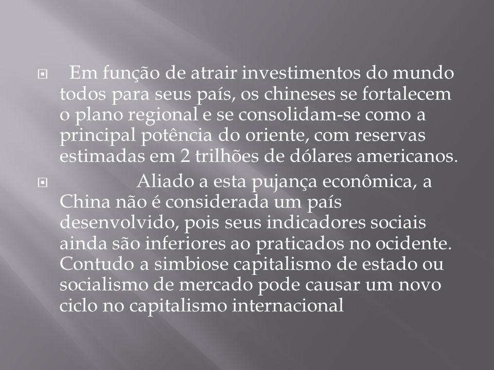 Em função de atrair investimentos do mundo todos para seus país, os chineses se fortalecem o plano regional e se consolidam-se como a principal potência do oriente, com reservas estimadas em 2 trilhões de dólares americanos.