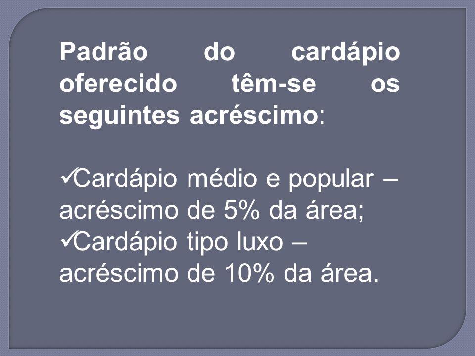 Padrão do cardápio oferecido têm-se os seguintes acréscimo: