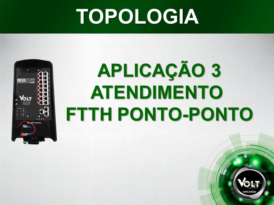 TOPOLOGIA APLICAÇÃO 3 ATENDIMENTO FTTH PONTO-PONTO