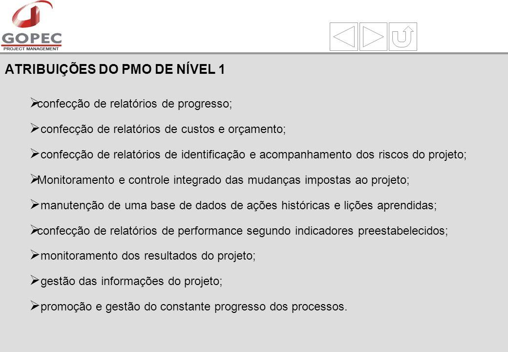 ATRIBUIÇÕES DO PMO DE NÍVEL 1
