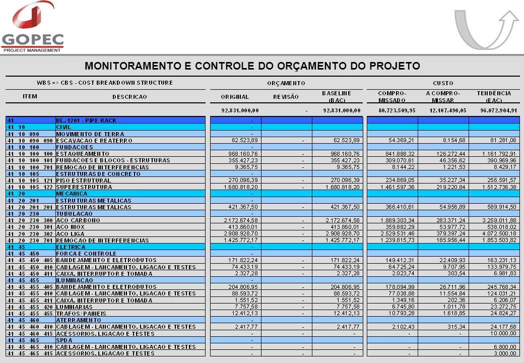 MONITORAMENTO E CONTROLE DO ORÇAMENTO DO PROJETO