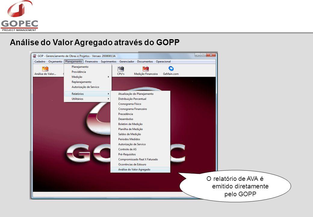 O relatório de AVA é emitido diretamente pelo GOPP