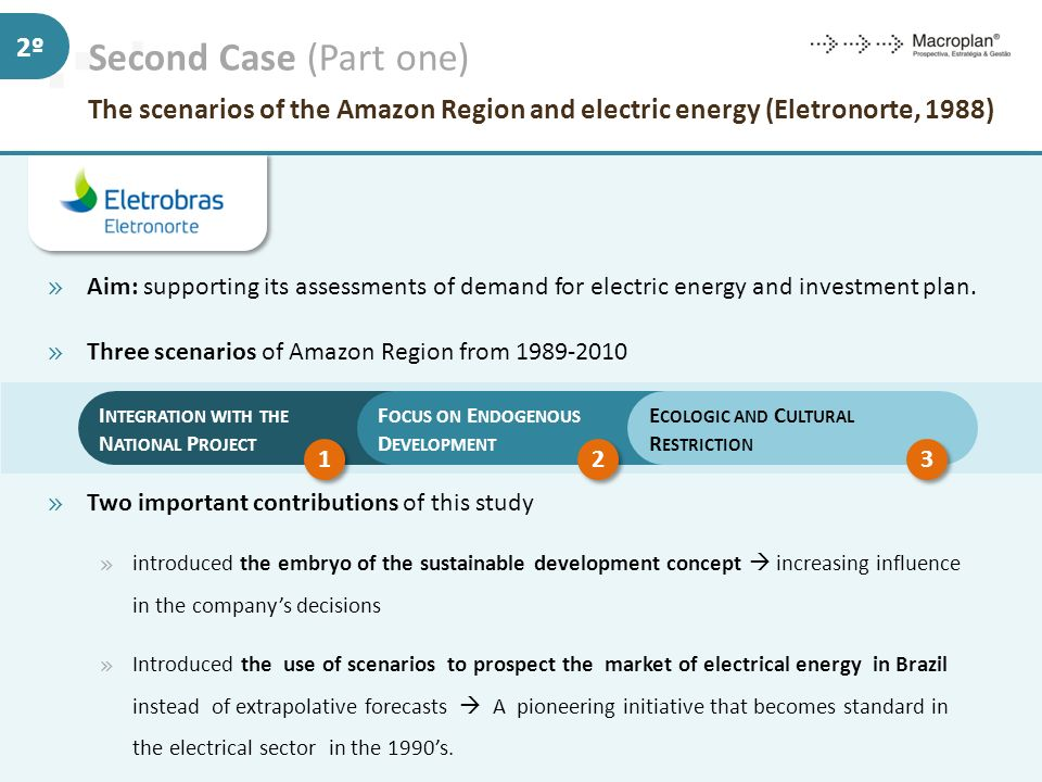 Second Case (Part one) The scenarios of the Amazon Region and electric energy (Eletronorte, 1988)