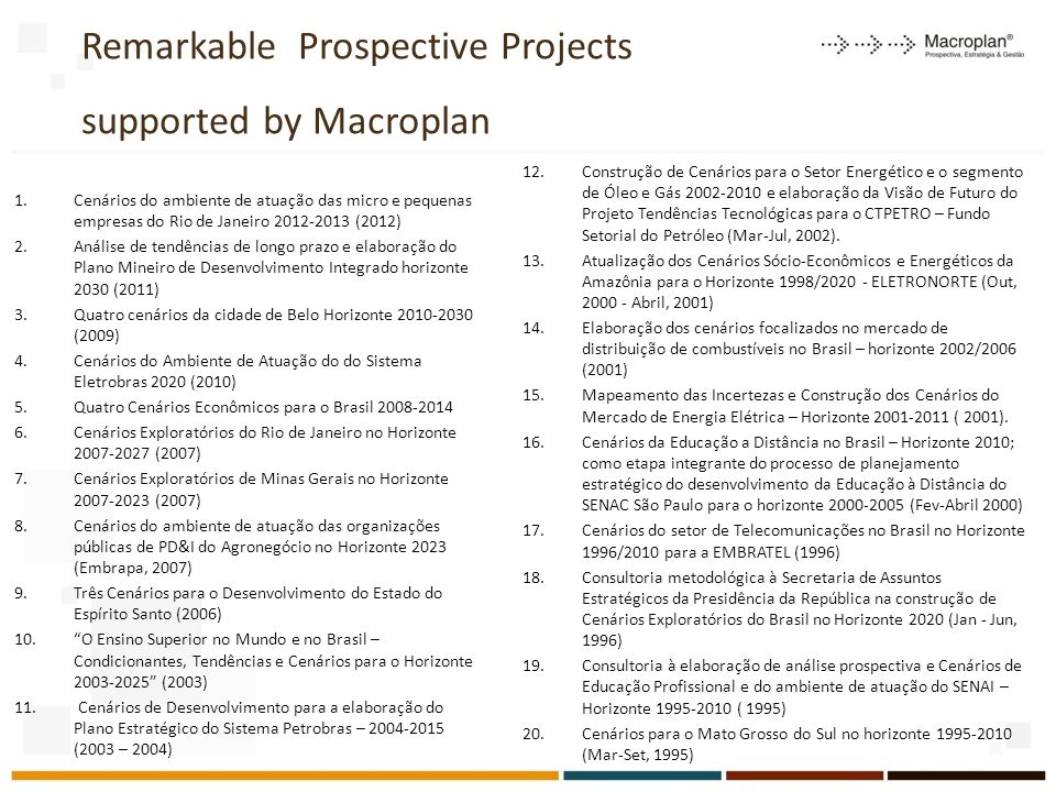 Remarkable Prospective Projects supported by Macroplan