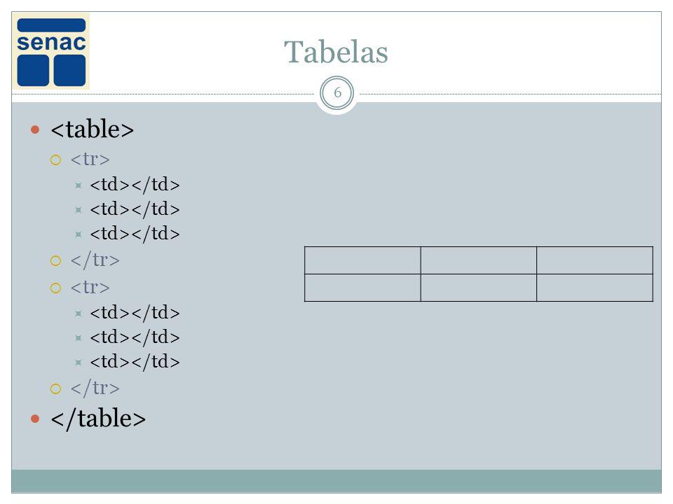 Tabelas <table> </table> <tr> </tr>