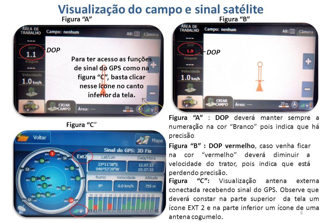 Visualização do campo e sinal satélite