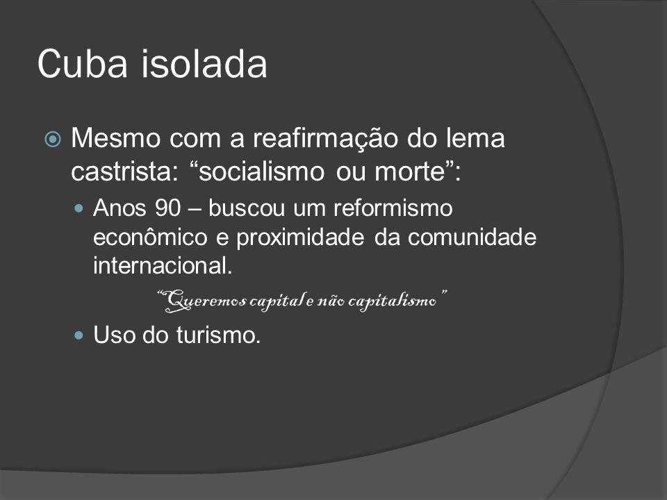 Cuba isolada Mesmo com a reafirmação do lema castrista: socialismo ou morte :