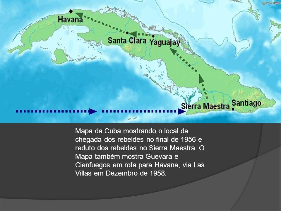 Mapa da Cuba mostrando o local da chegada dos rebeldes no final de 1956 e reduto dos rebeldes no Sierra Maestra.