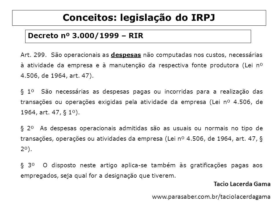 Conceitos: legislação do IRPJ