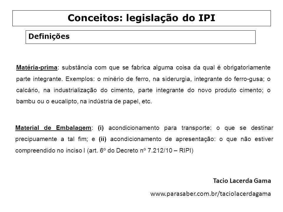 Conceitos: legislação do IPI
