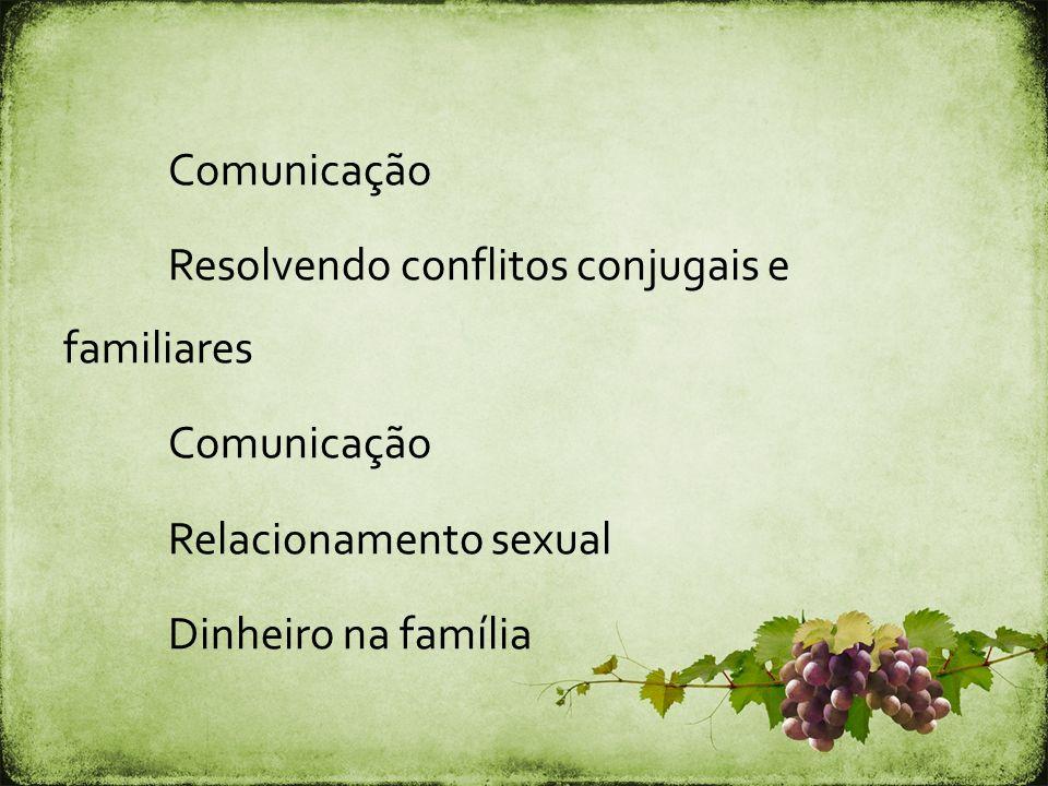 Comunicação Resolvendo conflitos conjugais e familiares Relacionamento sexual Dinheiro na família