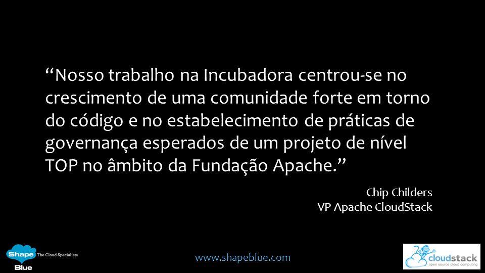 Nosso trabalho na Incubadora centrou-se no crescimento de uma comunidade forte em torno do código e no estabelecimento de práticas de governança esperados de um projeto de nível TOP no âmbito da Fundação Apache.
