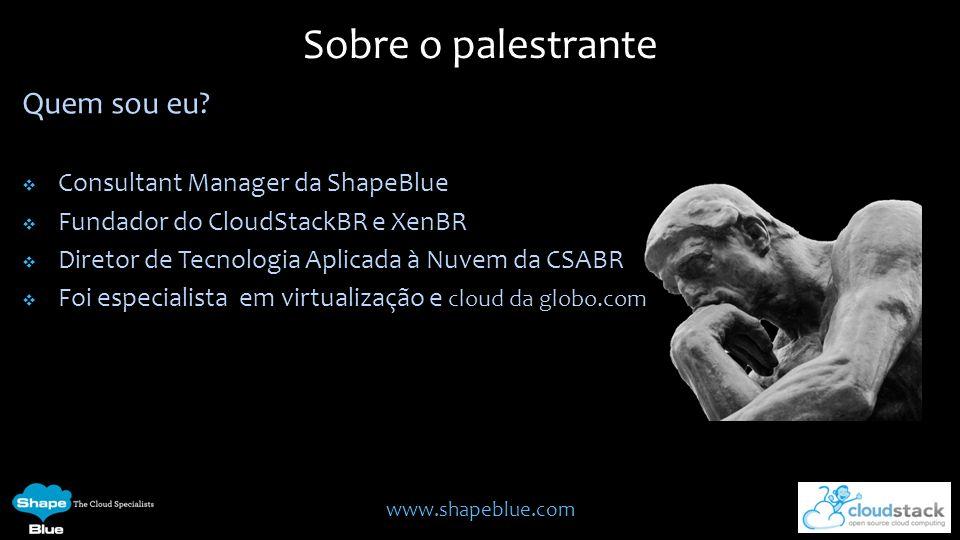 Sobre o palestrante Quem sou eu Consultant Manager da ShapeBlue