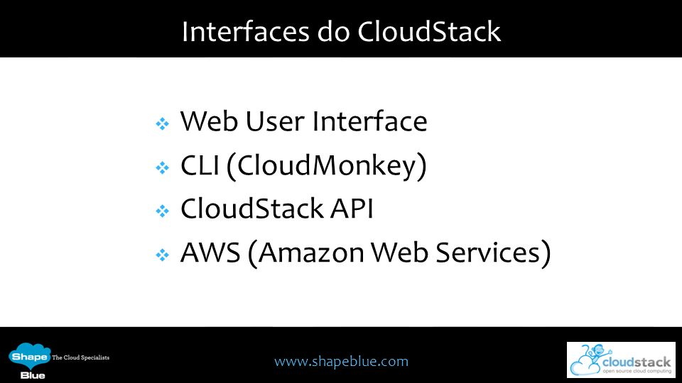 Interfaces do CloudStack