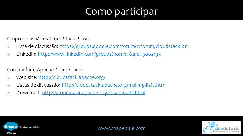 Como participar Grupo de usuários CloudStack Brasil: