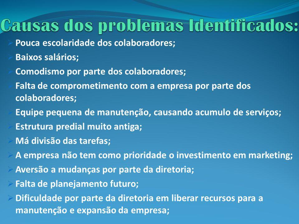 Causas dos problemas Identificados: