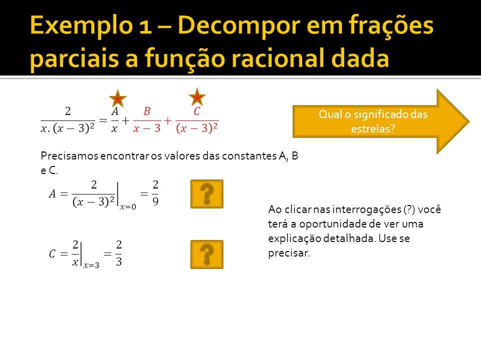 Exemplo 1 – Decompor em frações parciais a função racional dada
