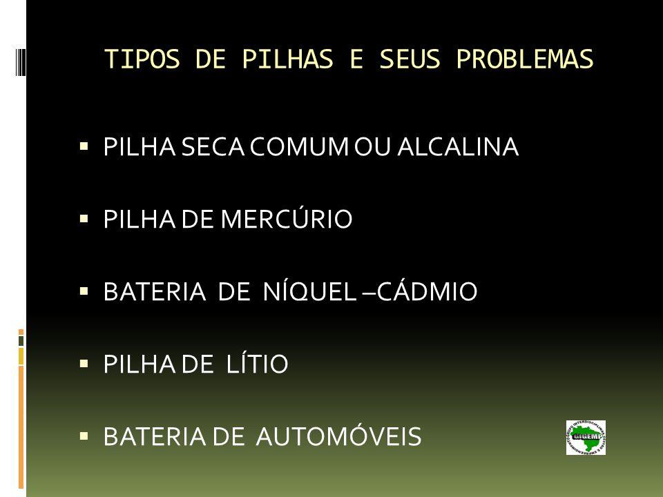 TIPOS DE PILHAS E SEUS PROBLEMAS