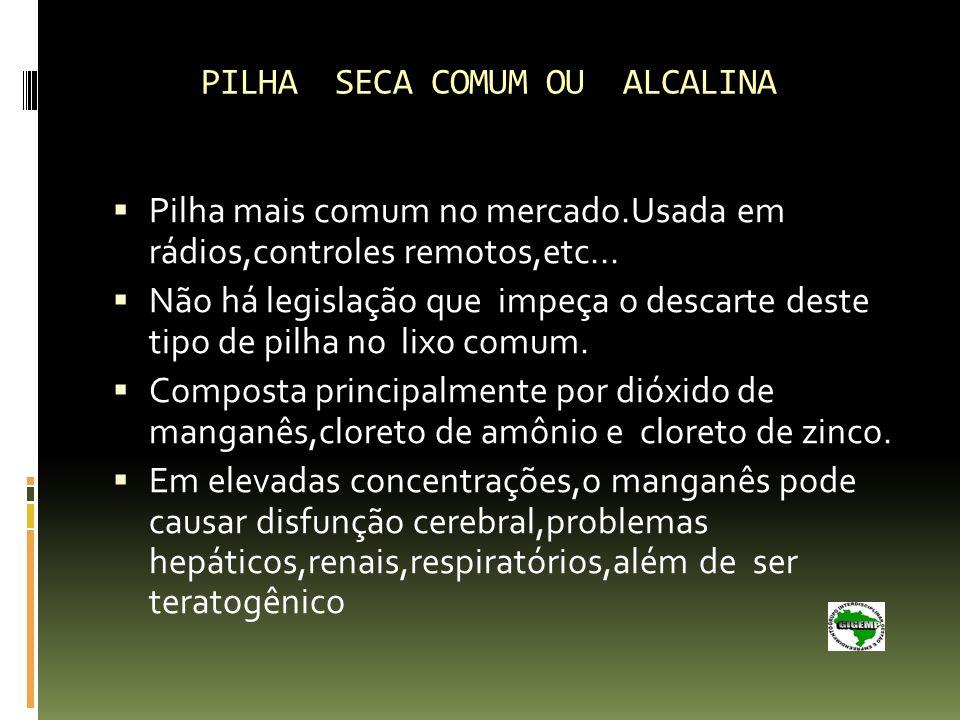 PILHA SECA COMUM OU ALCALINA
