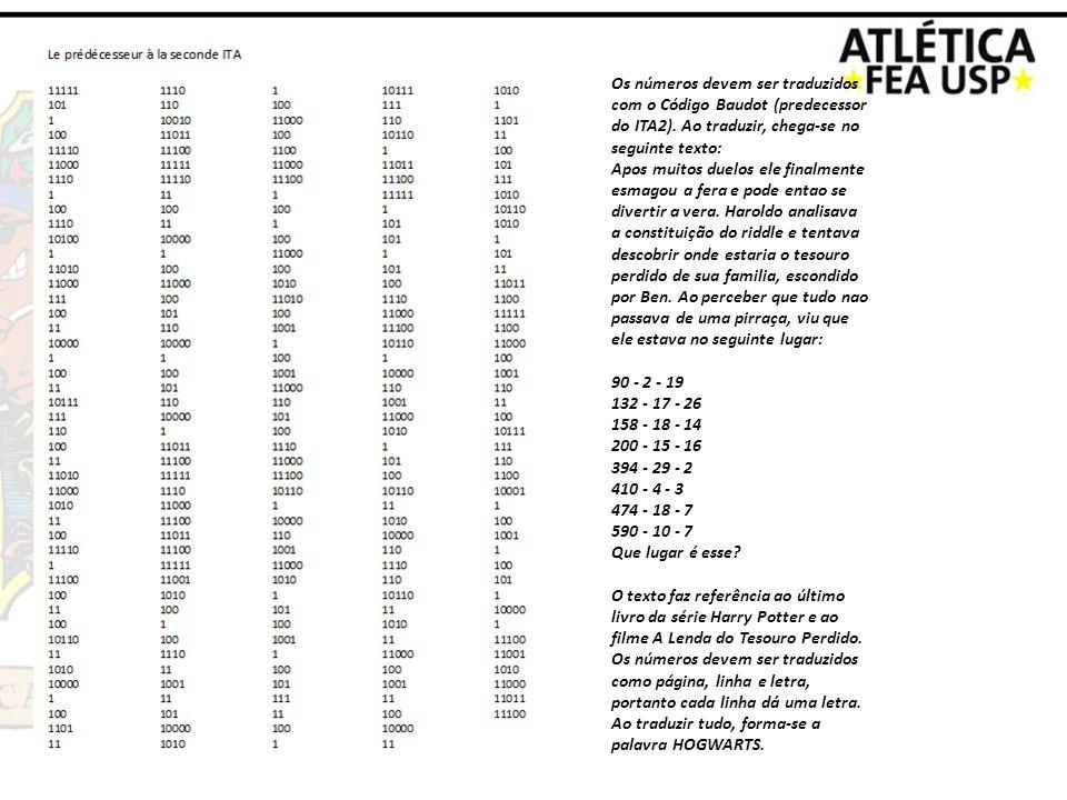 Os números devem ser traduzidos com o Código Baudot (predecessor do ITA2). Ao traduzir, chega-se no seguinte texto: