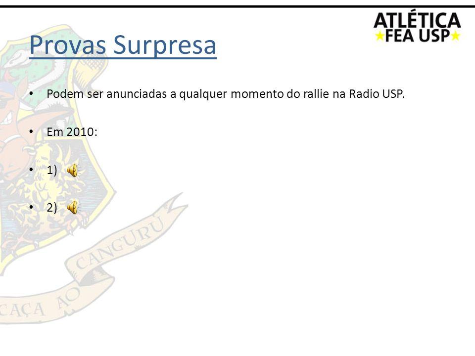 Provas Surpresa Podem ser anunciadas a qualquer momento do rallie na Radio USP. Em 2010: 1) 2)