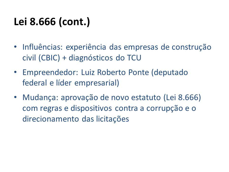 Lei 8.666 (cont.) Influências: experiência das empresas de construção civil (CBIC) + diagnósticos do TCU.