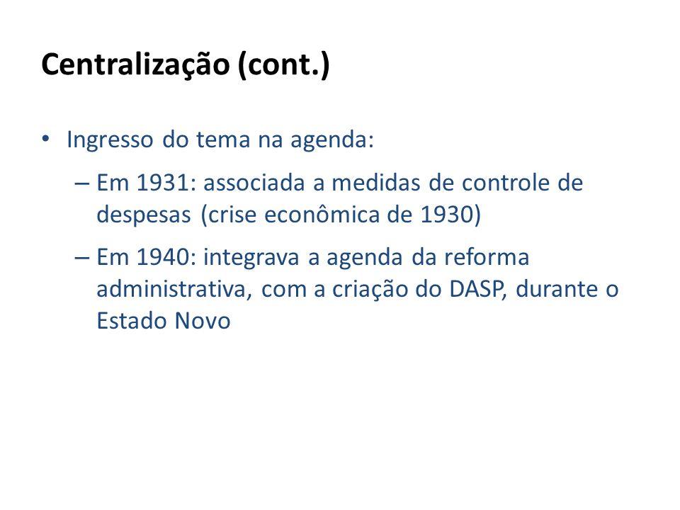 Centralização (cont.) Ingresso do tema na agenda: