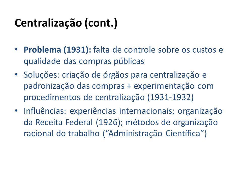 Centralização (cont.) Problema (1931): falta de controle sobre os custos e qualidade das compras públicas.