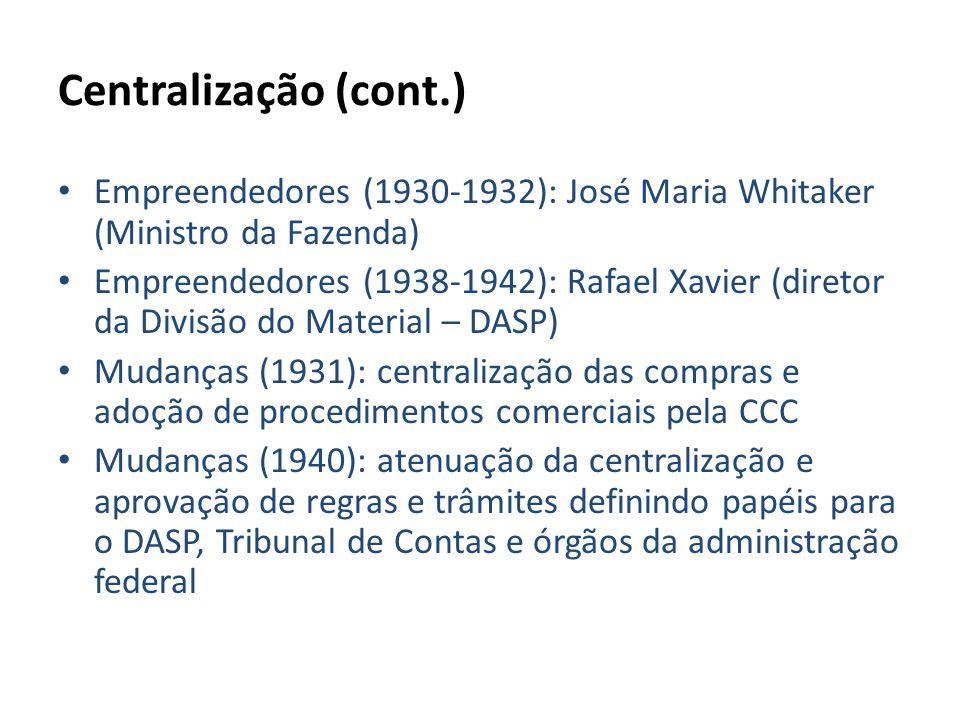 Centralização (cont.) Empreendedores (1930-1932): José Maria Whitaker (Ministro da Fazenda)