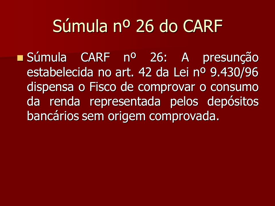 Súmula nº 26 do CARF