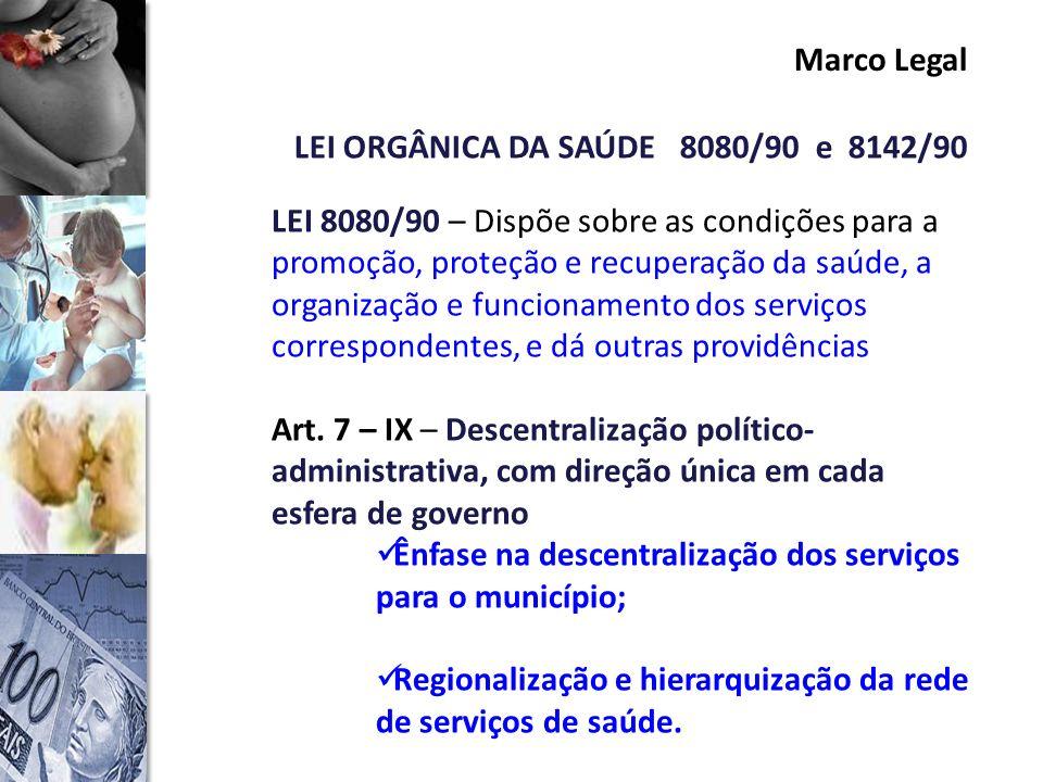 Marco Legal LEI ORGÂNICA DA SAÚDE 8080/90 e 8142/90.
