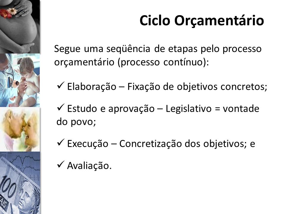 Ciclo Orçamentário Segue uma seqüência de etapas pelo processo orçamentário (processo contínuo): Elaboração – Fixação de objetivos concretos;