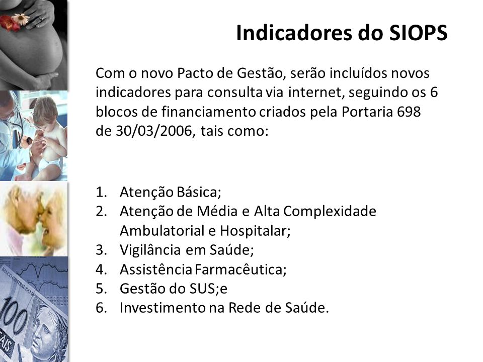 Indicadores do SIOPS