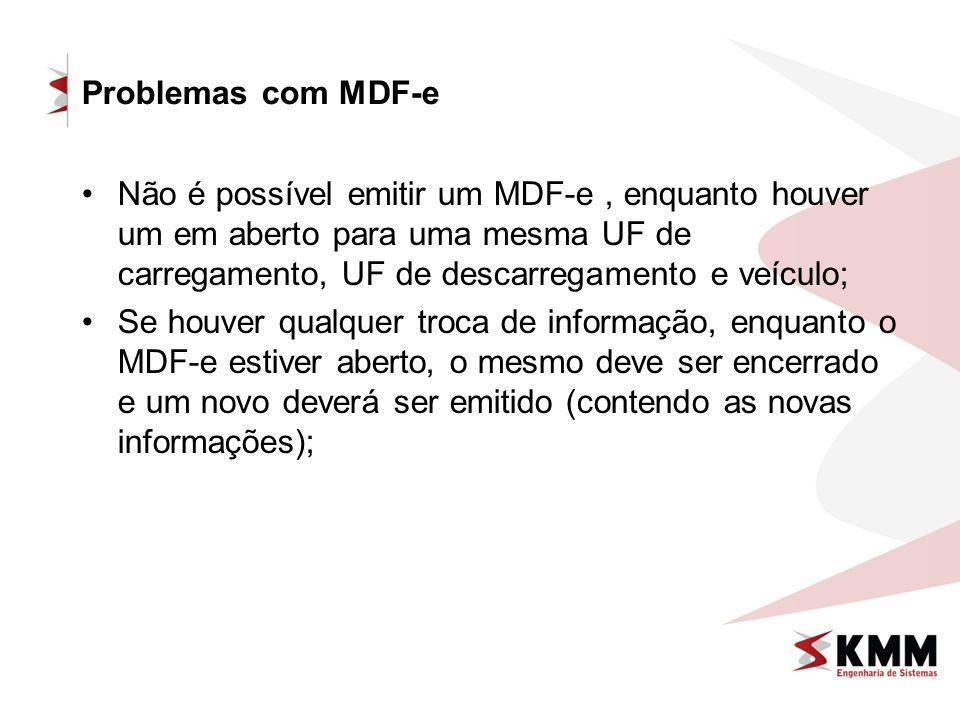 Problemas com MDF-e Não é possível emitir um MDF-e , enquanto houver um em aberto para uma mesma UF de carregamento, UF de descarregamento e veículo;