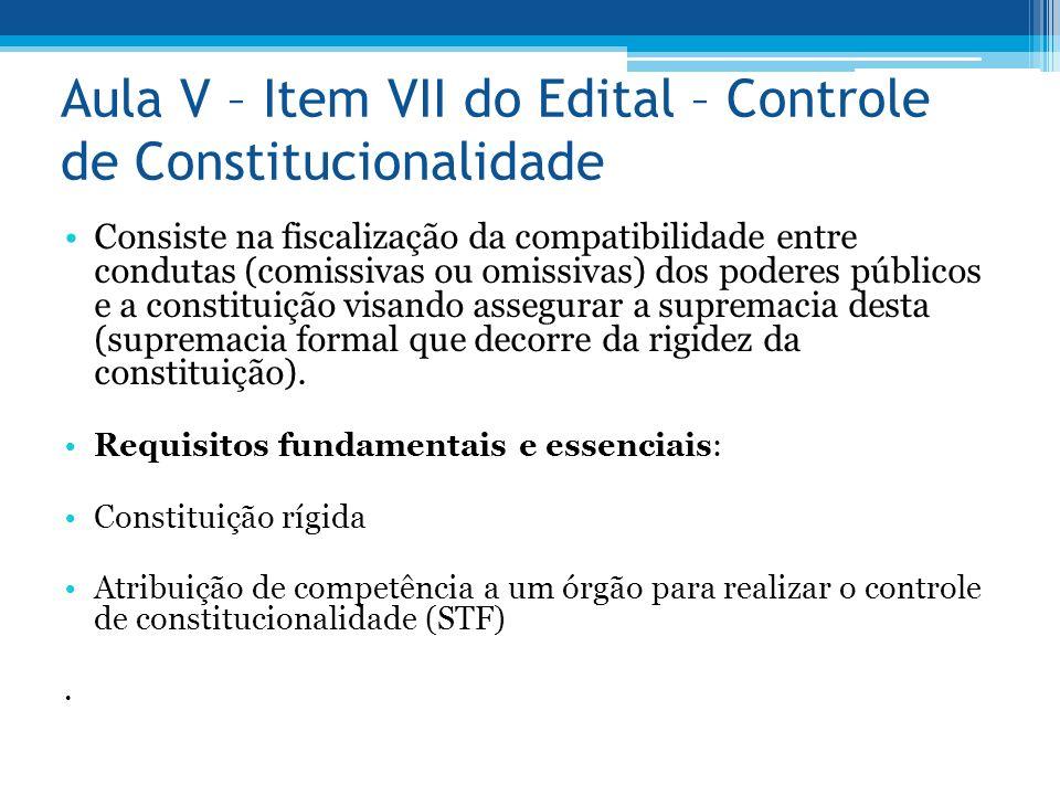 Aula V – Item VII do Edital – Controle de Constitucionalidade