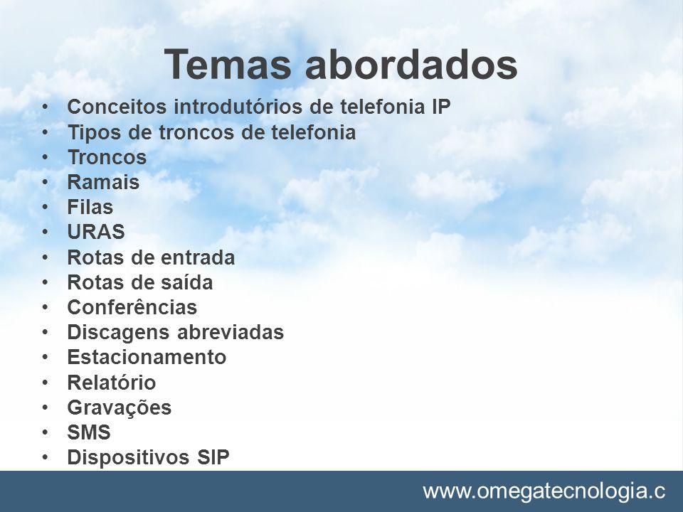 Temas abordados Conceitos introdutórios de telefonia IP