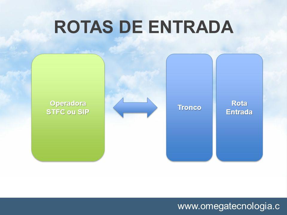 ROTAS DE ENTRADA Operadora STFC ou SIP Tronco Rota Entrada