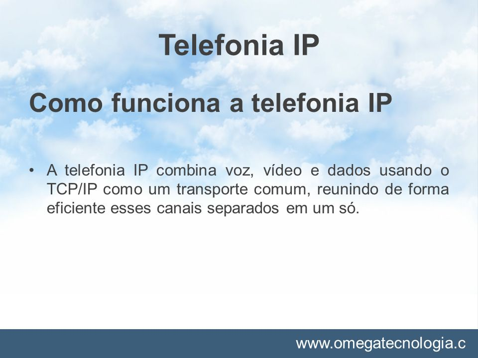 Telefonia IP Como funciona a telefonia IP
