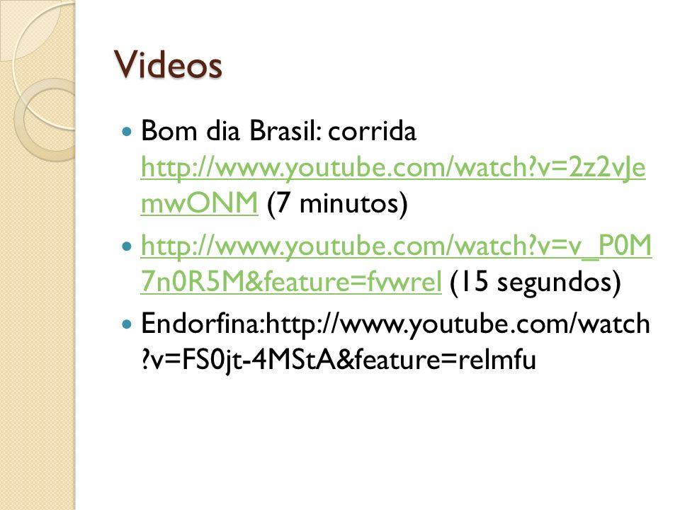 Videos Bom dia Brasil: corrida http://www.youtube.com/watch v=2z2vJe mwONM (7 minutos)