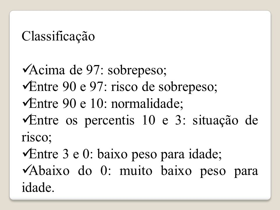 Classificação Acima de 97: sobrepeso; Entre 90 e 97: risco de sobrepeso; Entre 90 e 10: normalidade;