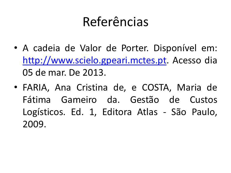 Referências A cadeia de Valor de Porter. Disponível em: http://www.scielo.gpeari.mctes.pt. Acesso dia 05 de mar. De 2013.