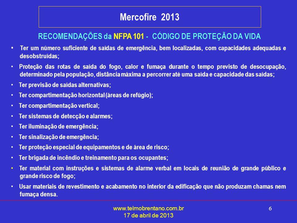 RECOMENDAÇÕES da NFPA 101 - CÓDIGO DE PROTEÇÃO DA VIDA