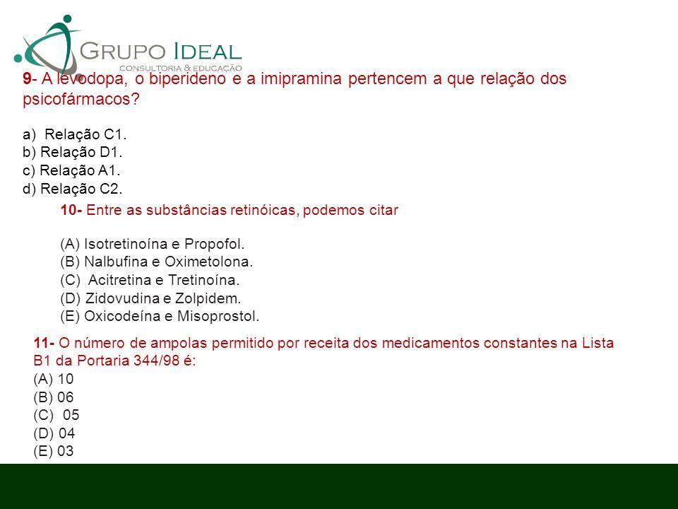 9- A levodopa, o biperideno e a imipramina pertencem a que relação dos psicofármacos