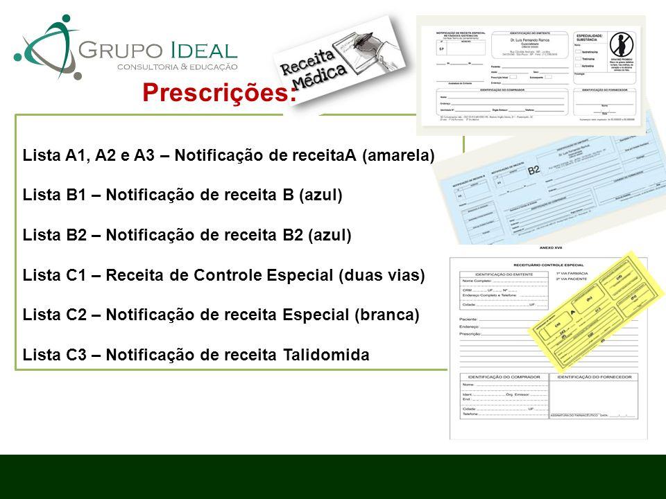 Prescrições: Lista A1, A2 e A3 – Notificação de receitaA (amarela)