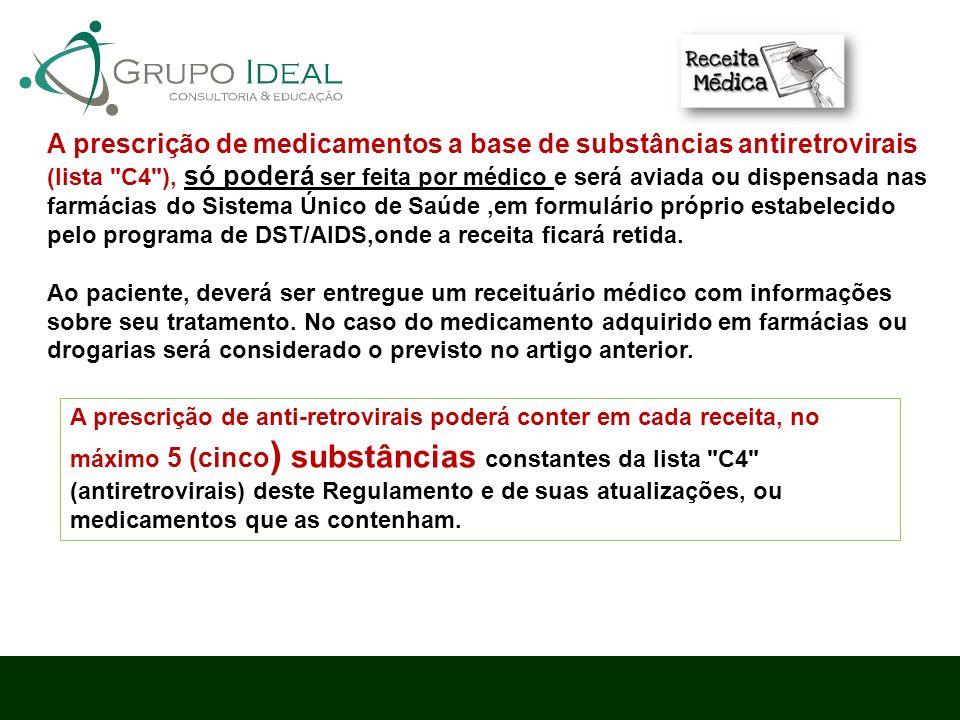 A prescrição de medicamentos a base de substâncias antiretrovirais