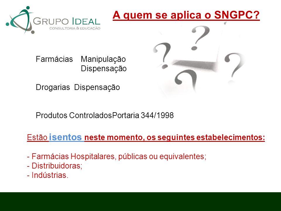 A quem se aplica o SNGPC Farmácias Manipulação Dispensação